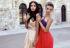 Photo of two beautiful girls with dark hair in luxurious dresses Royalty Free Stock Image