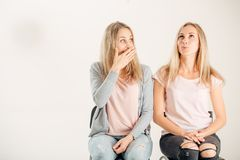 Photo of two beautiful young girls . Beauty portrait of twins sisters Stock Image