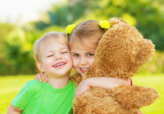 Two little child hugging Royalty Free Stock Photo