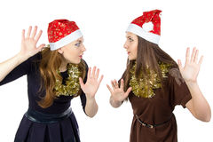 Photo of two eavesdropper young women Stock Images