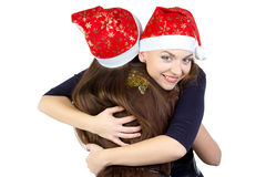 Photo of two happy hugging young women Stock Photography