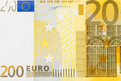 Photo of two hundred euro banknote in macro shot. High resolution photo Royalty Free Stock Image