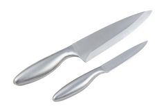 Photo of two kitchen knifes - small and big Stock Photos