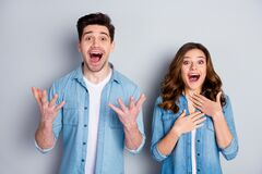 Free Photo Two People Funky Lady Crazy Handsome Guy Listen Good News Not Believe Eyes Hands Raised Wear Casual Denim Shirts Royalty Free Stock Photography - 179993007