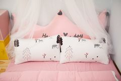 Photo of Two Pillows on the Bed Stock Images