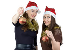 Photo of two young women with christmas balls Stock Photography