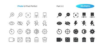 Photo UI Pixel Perfect Well-crafted Vector Thin Line And Solid Icons 30 2x Grid for Web Graphics and Apps. Simple Minimal Pictogram Part 1-2 Stock Photos