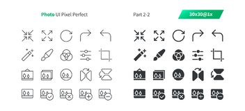 Photo UI Pixel Perfect Well-crafted Vector Thin Line And Solid Icons 30 1x Grid for Web Graphics and Apps. Simple Minimal Pictogram Part 2-2 Stock Photos