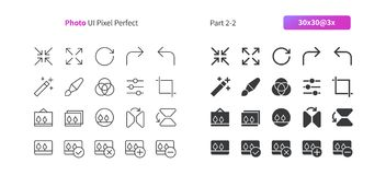 Photo UI Pixel Perfect Well-crafted Vector Thin Line And Solid Icons 30 3x Grid for Web Graphics and Apps. Simple Minimal Pictogram Part 2-2 Stock Image
