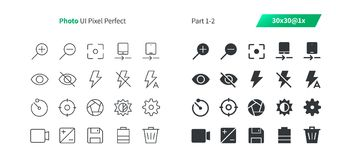 Photo UI Pixel Perfect Well-crafted Vector Thin Line And Solid Icons 30 1x Grid for Web Graphics and Apps. Simple Minimal Pictogram Part 1-2 Stock Images