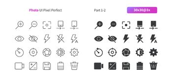 Photo UI Pixel Perfect Well-crafted Vector Thin Line And Solid Icons 30 3x Grid for Web Graphics and Apps. Simple Minimal Pictogram Part 1-2 Stock Images