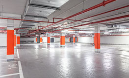 Photo of underground parking, industrial interior background Stock Image