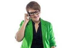Photo unhappy woman talking on the phone Royalty Free Stock Images
