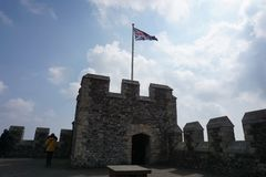 Dover Castle with Union Jack stock photo