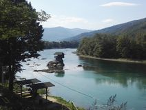 Up view to river Drina, Serbia, mountains in background. Photo of up view to river Drina, mountains in background, bright blue sky royalty free stock image