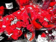 Red Roses on Sale Before Valentine`s Day stock photography