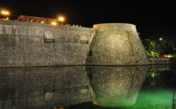 The shadow of the venetian wall in the night Royalty Free Stock Photos