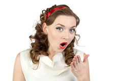 Photo of very surprised woman with wrist Royalty Free Stock Photo