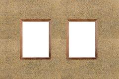 Photo vide de cadre en bois sur le fond de mur en pierre de sable Conseil blanc Photographie stock