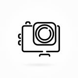 Photo video action camera, vector line icon. Vector flat illustration, action photo video camera line monochrome icon. Extreme cam symbol isolated on white Stock Photography