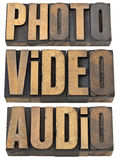 Photo, video, audio words in wood type. Photo, video, audio words - multimedia concept - a collage of isolated text in vintage letterpress wood type royalty free stock images