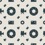 Photo and video camera flat icons seamless pattern. Photo and video camera flat icons. Vector illustration. Seamless background. Aperture icon Royalty Free Stock Images