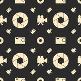Photo and video camera flat icons seamless pattern. Photo and video camera flat icons. Vector illustration. Seamless background. Aperture icon Royalty Free Stock Image