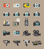 Photo and video camera flat vector icons Royalty Free Stock Photo