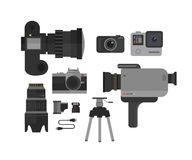 Photo and video camera, icons set in flat style.Photographer kit vector illustration. Royalty Free Stock Photos