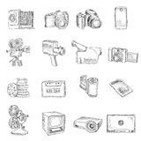 Photo video doodle icons Stock Photos