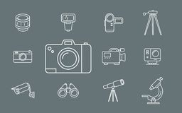 Photo and Video Equipment Icons - Set Web and Mobile 01 royalty free illustration