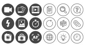 Photo, video icons. Camera, photos and frame. Stock Image