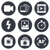 Photo, video icons. Camera, photos and frame Royalty Free Stock Photography