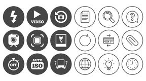 Photo, video icons. Camera, photos and frame. Stock Photo