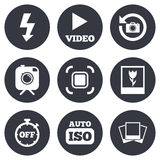 Photo, video icons. Camera, photos and frame Stock Photo