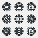 Photo, video icons. Camera, photos and frame. Royalty Free Stock Images
