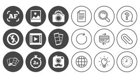 Photo, video icons. Camera, photos and frame. Photo, video icons. Camera, photos and frame signs. No flash, timer and strips symbols. Document, Globe and Clock Royalty Free Stock Image