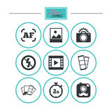 Photo, video icons. Camera, photos and frame. Royalty Free Stock Image