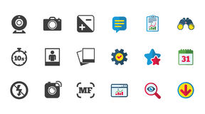 Photo, video icons. Camera, photos and frame. Royalty Free Stock Photo