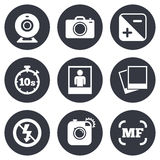 Photo, video icons. Camera, photos and frame Stock Photography