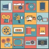 Photo video icons flat line. Photo video multimedia devices icons flat line set isolated vector illustration Stock Photography