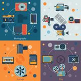 Photo video icons flat. Set of photography storage play isolated vector illustration Stock Illustration
