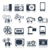 Photo video icons set black. Photo video camera and multimedia professional equipment black icons set isolated vector illustration Stock Photography