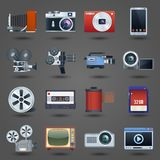 Photo video icons set. Photo video camera and multimedia equipment set isolated vector illustration Stock Photography