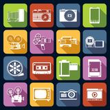 Photo Video Icons Set. Photo video camera and multimedia professional computer equipment white icons set isolated vector illustration Stock Image