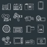 Photo video icons set outline. Photo video camera and multimedia professional entertainment equipment outline icons set isolated vector illustration Royalty Free Stock Photos