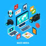 Mass Media Isometric Composition Royalty Free Stock Photography