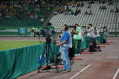 Photo and video journalists are working on a match of the russian premier league Stock Photo