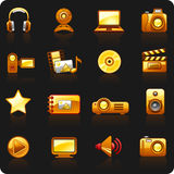 Photo and Video_orange_black background Royalty Free Stock Images