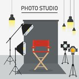 Photo studio interior. Photo and video porodaction studio poster template. Equipment for photo studio, production of films and advertising. Flat vector cartoon Stock Photos